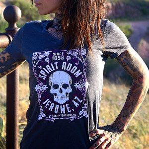 spirit room v neck women's light grey t-shirt